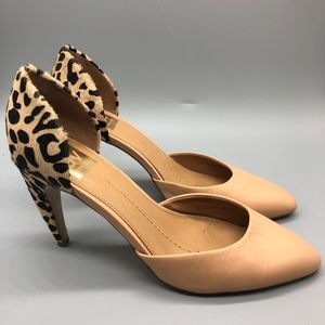 DV Dolce Vita nude and leopard animal print pumps